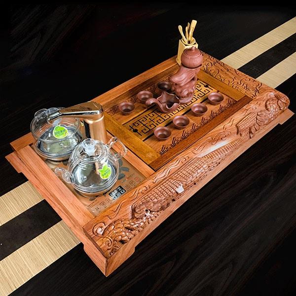 2: Bộ bàn trà điện gỗ hương vân HV75