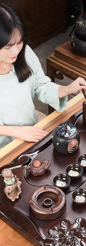 Bàn trà điện gỗ mun trạm hồn quê