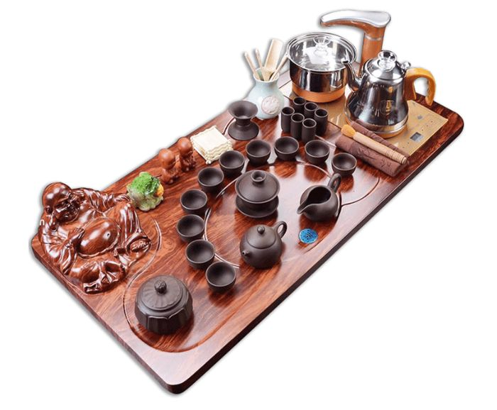 mẫu bàn trà điện tặng sếp có hình tượng Phật Di Lặc
