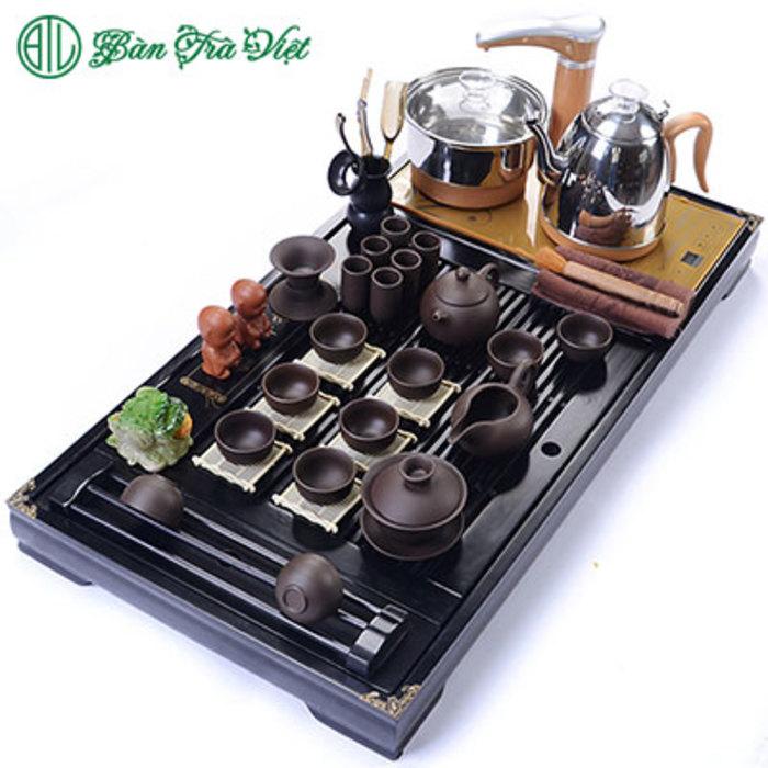 Bàn trà điện gỗ sồi đen 02401